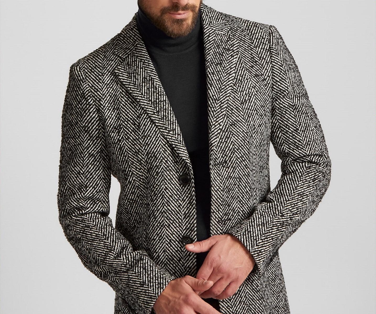 Cappotto moda uomo Digel Slim Fit spigato Grigio e Nero misto lana ... fb76a0fb1bc
